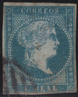 ESPANA  .      Yvert    37   Watermark         .     O    .         Cancelled      .    /   .  Oblitéré - 1850-68 Regno: Isabella II