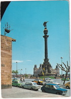Barcelona: 2x SIMCA 1000 II, FIAT 127, SEAT-FIAT 124, 125 TAXI - Monumento A Colón - Toerisme