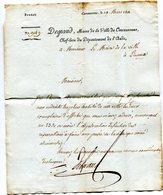 AUDE De CARCASSONNE LAC A En Tête De La Ville Du 19/03/1811 Linéaire 58x12 Taxée 2 Pour LIMOUX - 1801-1848: Precursors XIX