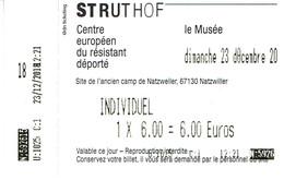 Billet D'entrée Au Camp De Concentration De Natzweiler-Struthof (23/12/2018) - Tickets D'entrée