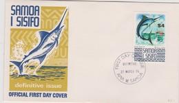 Samoa 1974 Definitives Black Marlin FDC - Samoa