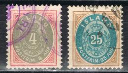 Island 20/21 Gestempelt - 4 Und 25 Aurar Grau 1900 - Oblitérés