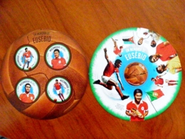 SALE! Mozambique 2 M/s 2014 Sport Round Stamps Football Soccer Player Eusebio Portugal Christiano Ronaldo Pele Brazil - Mozambique