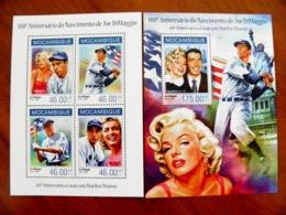 SALE! Mozambique 2 M/s 2014 Sport Baseball Joe Di Maggio Marilyn Monroe Freedom Statue Usa - Mozambique