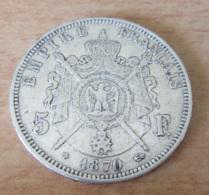 France - Monnaie 5 Francs Napoléon Lauré 1870 BB En Argent - Achat Immédiat - France