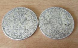 Belgique - 2 Monnaies 5 Franc Léopold II 1869 Et 1870 En Argent - Achat Immédiat - 1865-1909: Leopold II