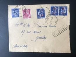Lettre EXPRES - EU - GROSLAY - LE HAVRE - PARIS  - 13/03/1941 - Paix N°479 - Mercure N°416 - Iris N°434 - Marcophilie (Lettres)