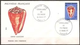 Enveloppe Polynésie - 1er Jour Coquillage Le 14/03/1977,fermeture Collée Au Verso (bon Etat) - FDC