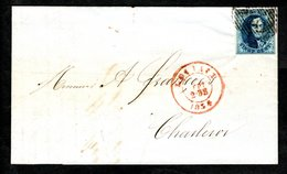 7 Margé Sur LAC Expédiée De Louvain à Destination De Charleroi, Cachet D'arrivée Du 23 Septembre 1854 Au Verso. - 1851-1857 Médaillons (6/8)