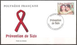 Enveloppe Polynésie - 1er Jour Prevention Du Sida Le 20/09/2001  (bon Etat) - FDC