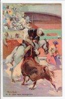 Cpa Carte Postale Ancienne  - Illustrateur Corrida Una Vara Recargando - Corridas