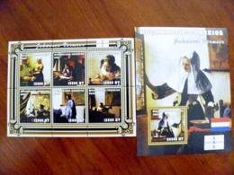 SALE! Mozambique 2 M/s 2001 Art Paintings Painter Johannes Vermeer Women Netherlands Amphilex 2002 - Mozambique