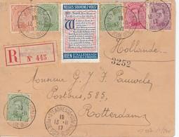 N° 135 + 137(3x) + 138+ 140+ Vignette / L. RECOMM De Sc Ste Adresse / Poste Belge-BelgiePost / 13.11.17-> Rotterdam/ Ho - 1915-1920 Albert I