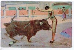 Cpa Carte Postale Ancienne  - Illustrateur Corrida Un Par En Todo Lo Alto - Corridas