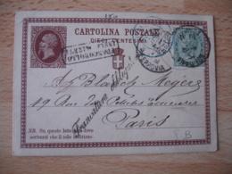 Italia  Entier Postal  Francatura Obliteria   Francobollo  1877 Cachet Entree France Ajout 1 Timbre Stationery Cover - 1861-78 Vittorio Emanuele II
