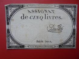 FRANCE 5 LIVRES (VOIR SIGNATURE+N° SERIE) (22) - Assignats
