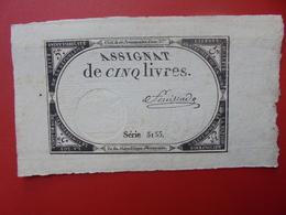 FRANCE 5 LIVRES (VOIR SIGNATURE+N° SERIE) (26) - Assignats