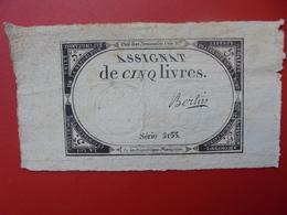 FRANCE 5 LIVRES (VOIR SIGNATURE+N° SERIE) (27) - Assignats