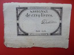 FRANCE 5 LIVRES (VOIR SIGNATURE+N° SERIE) (33) - Assignats