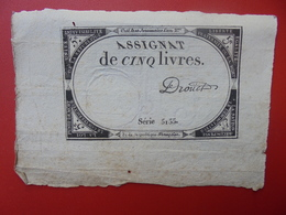 FRANCE 5 LIVRES (VOIR SIGNATURE+N° SERIE) (33) - Assignats & Mandats Territoriaux