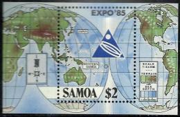 SAMOA EXPO JAPAN MAP AUSTRALIA ASIA SET OF 1 ON M/S $2 DATED 1985 MINT SG705 READ DESCRIPTION !! - Samoa