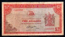 329-Rhodésie Billet De 2$ 1979 K154, Fil. Tête D'oiseau, Déchirures En Haut - Rhodesia