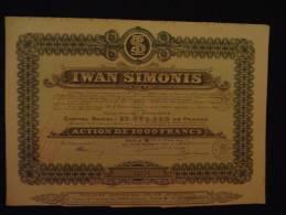 Action  Iwan Simonis Verviers 1927 Série  B - Textile