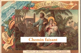 Chromo Chocolat Pères Trappistes ABBAYE D'IGNY 51 -  Jésus : Arrivée En EGYPTE Chute Des Idoles - Scans Recto-verso - Chocolat