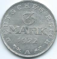 Germany - Weimar - 1922 A - 3 Marks - KM29 - 3rd Anniversary Of Weimar Republic - [ 3] 1918-1933 : Republique De Weimar