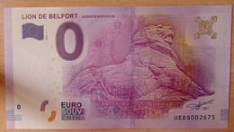 Billet Touristique 0 Euro Lion De Belfort 2016 - EURO