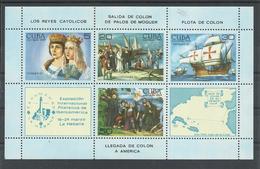 CUBA, HOJA BLOQUE  LLEGADA DE COLON A AMERICA   MNH  ** - Cristóbal Colón