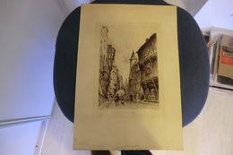 Gravure De Alfred-Louis Brunet-Debaines (1845-1939) Rue Saint Romain à Rouen - Stiche & Gravuren