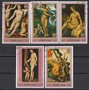 552 Ajman 1970 Quadri Dipinti Da Rembrandt Delacroix Cranach Bronzino (Vinci) Leda Venere Cupido Paintings - Mitologia