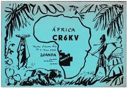 QSL Card Amateur Radio CB Angola Luanda Nuno Viegas Vaz Kigali Rwanda Lion Afrique Africa Tribal Native Hinter Tribu - Radio Amateur