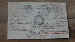 Carte Postale De DJIBOUTI Pour INDOCHINE, Retour FRANCE - 1908, Cachets   …... … HY-3022 - France (ex-colonies & Protectorats)