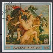 "559 Ajman 1970 "" Il Rapimento Delle Figlie Di Leucippo "" Quadro Dipinto Da P.P. Rubens Used Paintings Tableaux Dioscuri - Mythology"