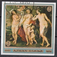 "557 Ajman 1970 "" Giudizio Di Paride "" Quadro Dipinto Da P.P. Rubens  Paintings Tableaux Era Afrodite Atena Imperf. - Mythology"
