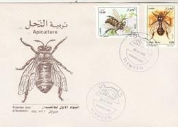Algérie FDC 1995 Yvert Série 1081 Et 1082 Faune Insectes Abeilles - Algeria (1962-...)