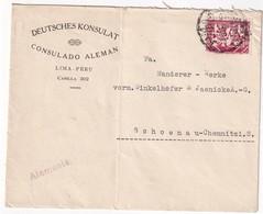 PEROU 1938 LETTRE DU CONSULAT ALLEMAND DE LIMA - Peru