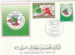 Algérie Carte Maximum FDC 1995 Yvert 1086 + Timbre Du Bloc 7 50 Ans Répression Du 8 Mai - Oiseau - Algeria (1962-...)