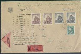 Böhmen Und Mähren # 142, 140-1 (2x) Wert-Nachnahmebrief Prag 8.2.45 #142 Geprüft Gilbert. Rückseitig 2 Siegel. - Bohemia & Moravia