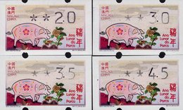 Macao - 2019 - Lunar New Year Of The Pig - Mint ATM Stamp Set - Automaten