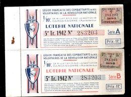 THMS LOTERIE 2 Billets Série A Et Série B Légion Française Des Combattants, Section De Carcassonne Aude - Billets De Loterie