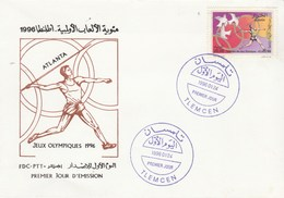 Algérie FDC 1996 Yvert 1105 Centenaires Jeux Olympiques - Sports Javelot Oiseau - Atlanta - Algeria (1962-...)