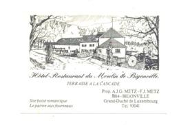 "Carte De Visite - Hôtel - Restaurant Du "" Moulin De Bigonville ""(Martelange) Luxembourg  (van) - Visiting Cards"