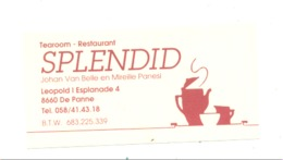 "Carte De Visite -  Tearoom , Restaurant  "" SPLENDID "" DE PANNE  (van) - Cartes De Visite"
