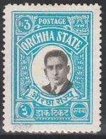 British India ORCHHA STATE 1935 - SG 25, 3r - Maharaja Vir SIngh II - MH - Orchha