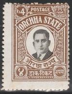 British India ORCHHA STATE 1935 - SG 26, 4r - Maharaja Vir SIngh II - MH - Orchha