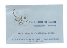 """Carte De Visite -   Restaurant  """" Hôtel De L' Aigle """"  WALCOURT (van) - Cartes De Visite"""