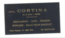 "Carte De Visite -   Restaurant  "" CORTINA ""  SPA (van) - Cartes De Visite"